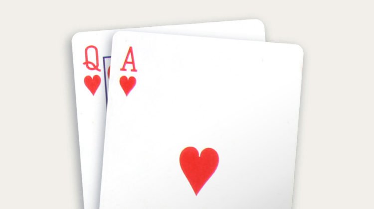 Blackjack two queen of hearts card game